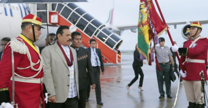 President Rajapaksa Arrives in Bolivia 1