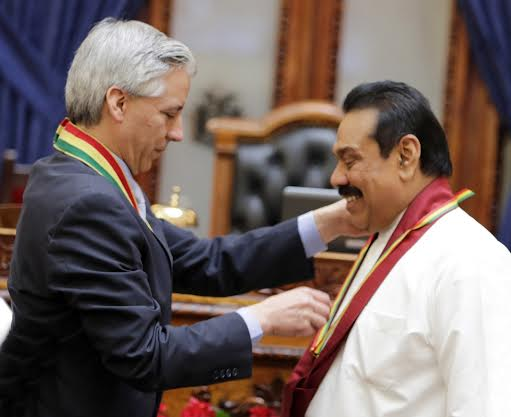 President Rajapaksa Receives Award for Contributions to Peace and Democracy
