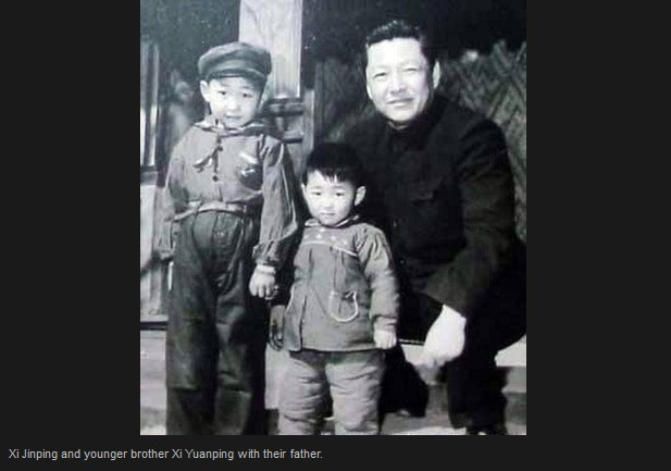 Xi Jinping and younger brother Xi Yuanping with their father
